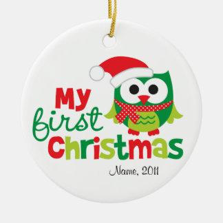 My First Christmas Santa Owl Round Ceramic Decoration