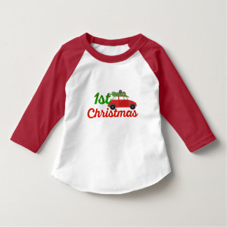 my first christmas tree on santa shirt-design red T-Shirt