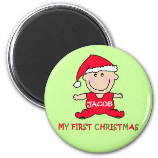 My First Christmas Tshirt to Customize 6 Cm Round Magnet
