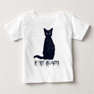 My First Halloween Black Cat Silhouette Baby T-Shirt