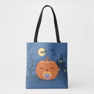My First Halloween Pacifier Pumpkin Tote Bag