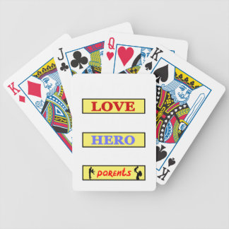 My First Love My First Hero Always My Parents Bicycle Playing Cards