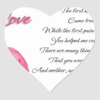 My First Love Poetry Art By Stanley Mathis Heart Sticker