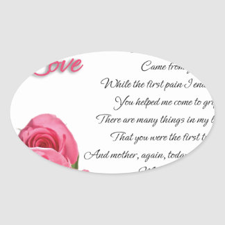 My First Love Poetry Art By Stanley Mathis Oval Sticker