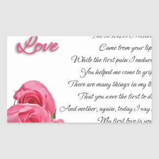 My First Love Poetry Art By Stanley Mathis Rectangular Sticker