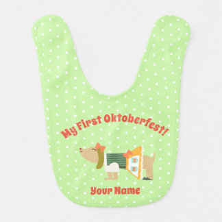 """My First Oktoberfest"" Baby Bib with Cute Dog"