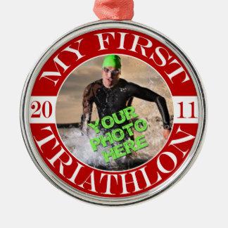 My First Triathlon - 2011 Silver-Colored Round Decoration