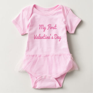 My First Valentine's Day Girls Outfit Baby Bodysuit
