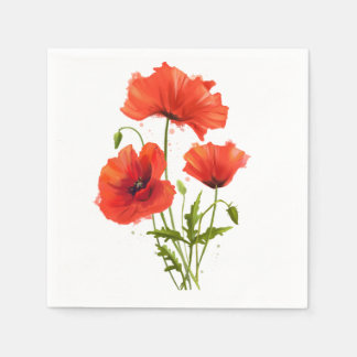 My flowers Poppies Disposable Serviette