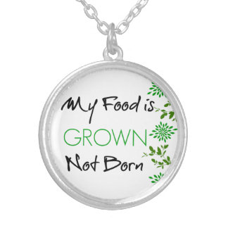 My food is grown silver plated necklace