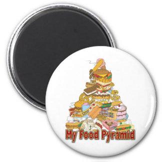 My Food Pyramid ~ Junk Food Snacks 6 Cm Round Magnet
