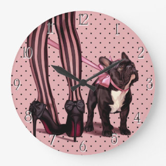 My French Bulldog Large Clock