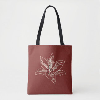 My Garden Lily Drawing Burgundy Red Tote