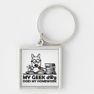 My geek dog does my homework Silver-Colored square key ring