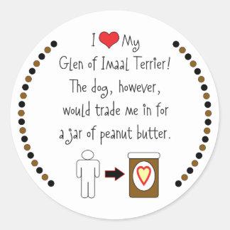 My Glen of Imaal Terrier Loves Peanut Butter Round Stickers