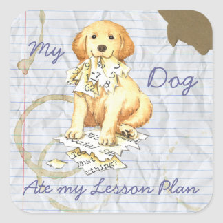 My Golden Ate My Lesson Plan Square Sticker