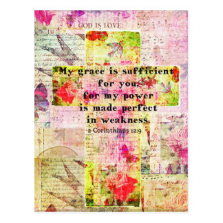 My grace is sufficient for you BIBLE quote - CROSS Postcard