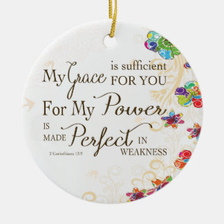 My Grace is Sufficient For You Round Ceramic Decoration