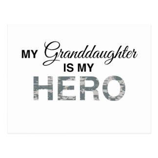 My Granddaughter is my Hero Digital Camouflage Postcard