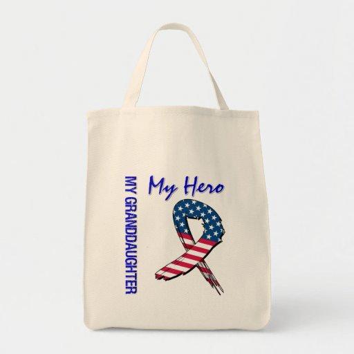 My Granddaughter My Hero Patriotic Grunge Ribbon Canvas Bags