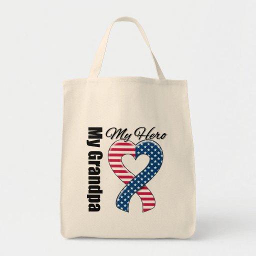 My Grandpa My Hero Patriotic USA Ribbon Tote Bag