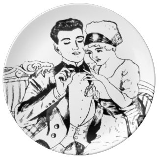 My Grandpa's 1917 Drawing of Him Proposing Plate