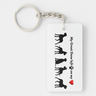 My Great Dane left Pawprints on my Heart Dog Pet Key Ring