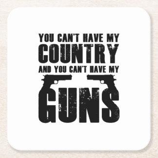 My Gun Funny 2 Amendment Cool Gift Square Paper Coaster
