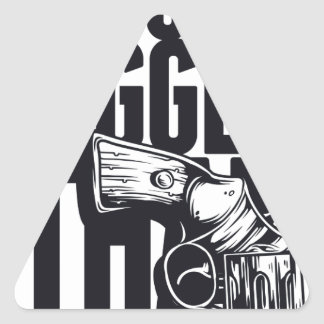 MY GUN IS MUCH BIGGER THAN YOURS TRIANGLE STICKER