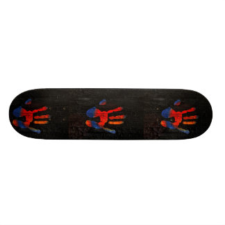 My hand with fire skateboard