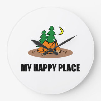 My Happy Place Camping Tent Clock