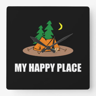 My Happy Place Camping Tent Wallclocks