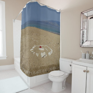 My Happy Place is at the Beach (customizable) Shower Curtain
