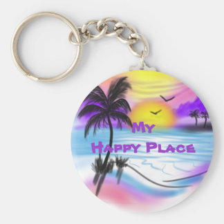 My Happy Place Key Ring