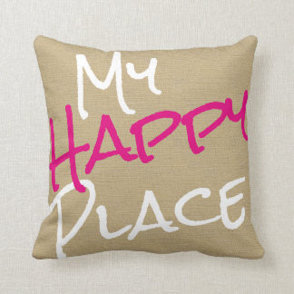 My Happy Place Pink and White Canvas Print Cushion