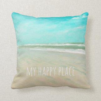 My Happy Place Turquoise Sky Beach Scene Cushion