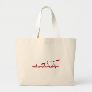 MY HEART BEATS FOR KAYAKING (CARDIOGRAM) LARGE TOTE BAG