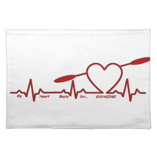 MY HEART BEATS FOR KAYAKING (CARDIOGRAM) PLACEMAT