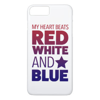 My Heart Beats Red, White and Blue iPhone 7 Plus Case
