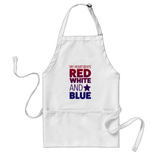 My Heart Beats Red, White and Blue Standard Apron