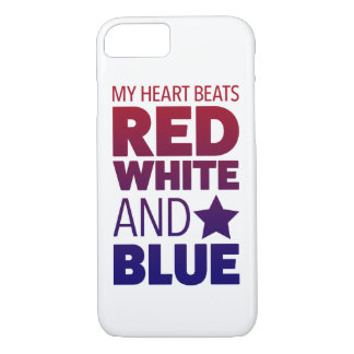 My Heart Beats Red, White & Blue iPhone 7 Case