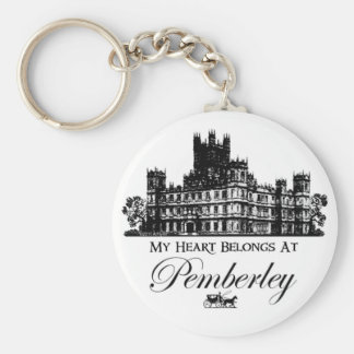 My Heart Belongs At Pemberley Basic Round Button Key Ring