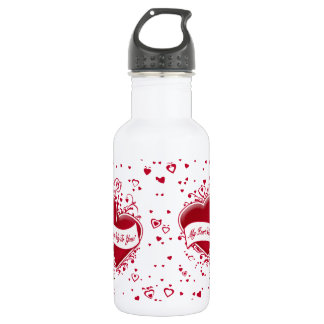My Heart Belongs Only To You! Red Hearts 532 Ml Water Bottle