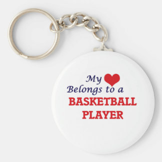 My heart belongs to a Basketball Player Basic Round Button Key Ring