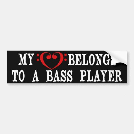 My Heart Belongs To A Bass Player Bumper Sticker