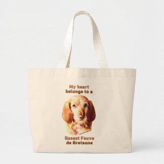 My Heart Belongs To A Basset Fauve de Bretagne Large Tote Bag