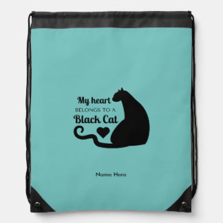 My Heart Belongs to a Black Cat Drawstring Bag