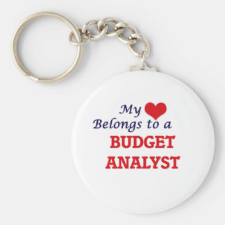 My heart belongs to a Budget Analyst Basic Round Button Key Ring