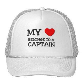 My Heart Belongs To A CAPTAIN Mesh Hats