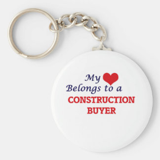 My heart belongs to a Construction Buyer Basic Round Button Key Ring